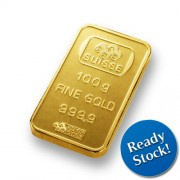 PAMP Suisse 100 gram Gold Bar 999.9 with Assay Certificate