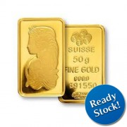 PAMP Suisse 50 gram Gold Bar 999.9 with Assay Certificate