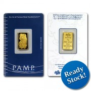 PAMP Suisse 5 gram Gold Bar 999.9 with Assay Certificate