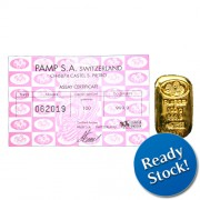 PAMP Suisse 100 gram Casted Gold Bar 999.9 with Assay Certificate